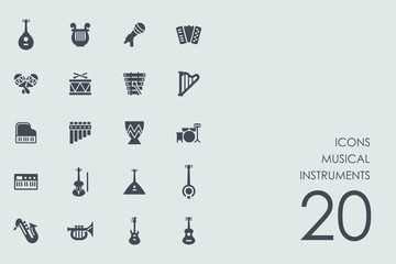 Set of musical instruments icons
