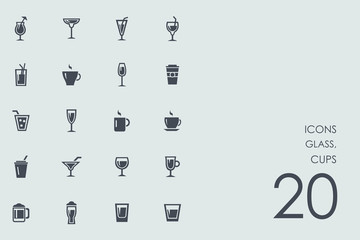 Set of glass, cups icons