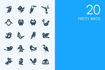 Set of pretty birds icons