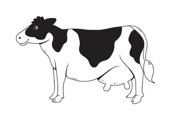 Drawing cow, vector