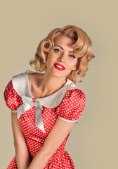 retro coquettish pinup woman