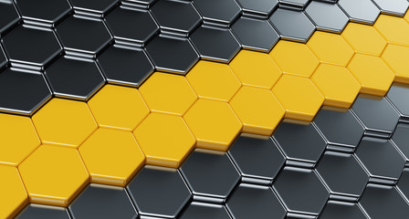 Wall of metallic hexagons with a yellow stripe. 3d render illust