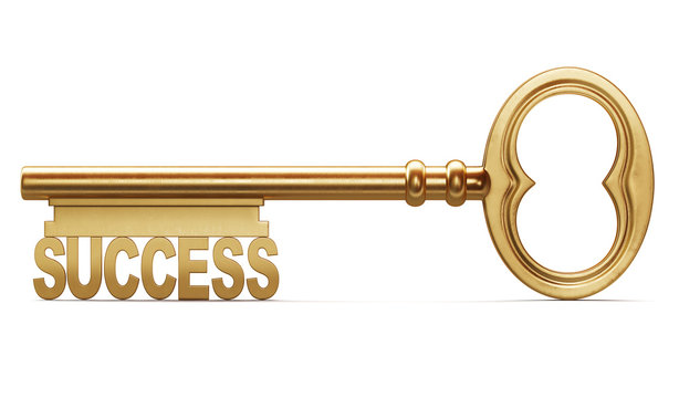 Golden key to success is a front view isolated on white backgrou