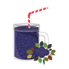 Blueberry juice icon. Smoothie drink beverage and fruit theme. Isolated design. Vector illustration