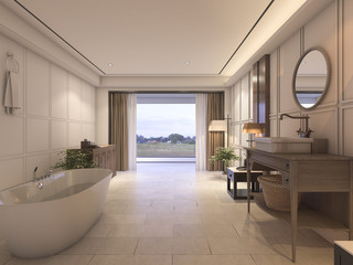 3d rendering luxury bathroom with tile and classic furniture