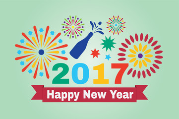 Happy new year 2017. Inscription and fireworks on a green background.