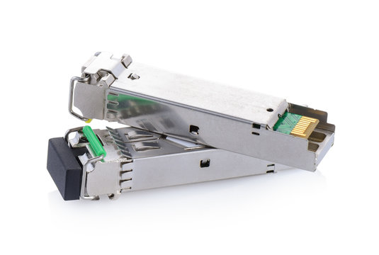 Optical gigabit sfp modules for network switch on whie backgroun