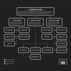 Corporate presentation template on dark background. Black and white colors. Useful for advertising, presentations and web design.