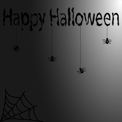 black spiders with cobwebs and the words Happy Halloween on a gray background. New  illustration