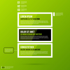 Options template on fresh green background. Flat style.