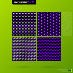 Set of 4 purple corporate backgrounds. Vector seamless patterns.
