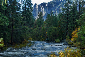 Fall colors and flowing water at Yosemite in October