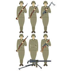 US Army soldiers with weapons of World War II