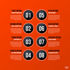 Corporate business banners and options template on bright orange background. Useful for presentations and advertising.