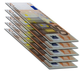Five fifty euro bills flying in white space. Perspective view. Banknotes lined under each other.