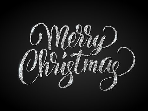Merry christmas card with silver glitter lettering