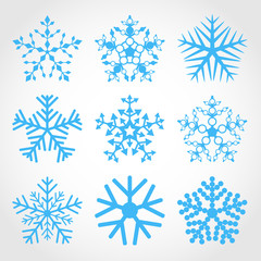 Set of snowflakes. Nine different blue snowflakes.