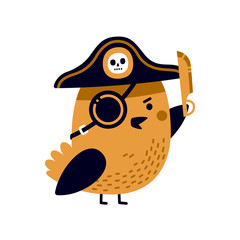 Illustration of adorable pirate bird with captain's hat, eye patch and sharp blade.