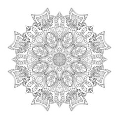 Vector mandala. Flower ornament. Hand drawn element. For coloring, print, poster, background, brochure, invite card.