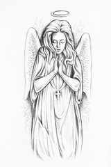 Sketch of an angel on a white background.