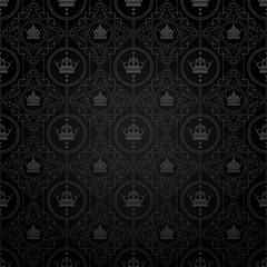 Black wallpaper. Classic vintage background. Vector image