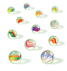 set of colorful realistic glass toy marbles. Vintage children's game.