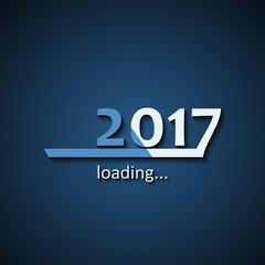 Loading 2017 inscription bar - flat design template, blue edition