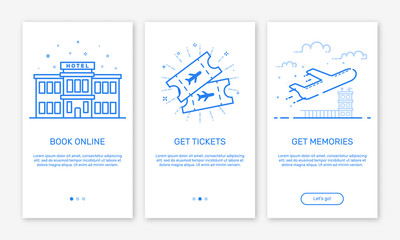 Vector Illustration of onboarding app screens and web concept book hotel online for mobile apps in flat line style. Modern blue interface UX UI GUI screen template for smart phone or web site banners.