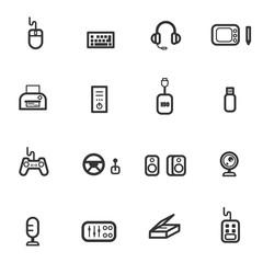 computer accessories icon set vector