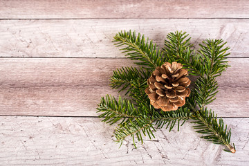 Pine branch and cone on a wooden background