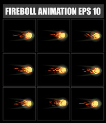 vector fireball animation. Sprite sheet for game or cartoon. Flame . Fire . Blaze . Flasher Pause . Bonfire.