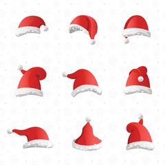 Christmas various hats set in cartoon style on white background.