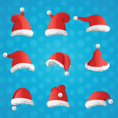 Christmas various hats set in cartoon style on blue background.