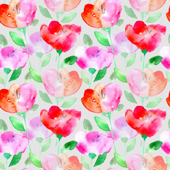 Floral seamless pattern with poppy flowers.Watercolor hand drawn illustration.Grey background.