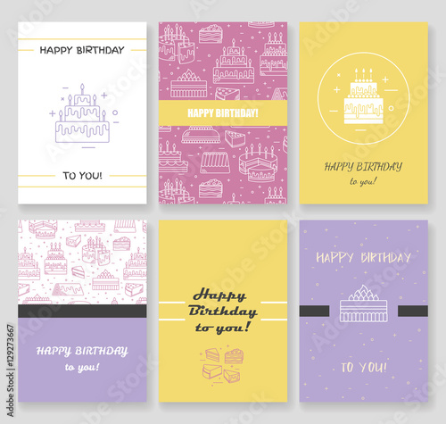 Happy Birthday Card Template Cake With Candle Vector Icon Line