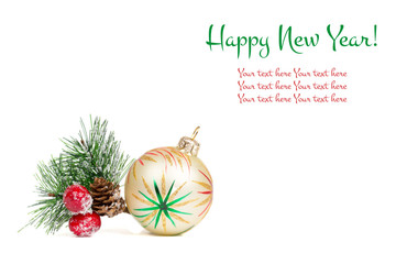 Happy New Year composition on white, greeting card