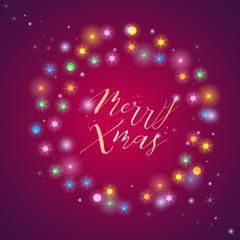 Glowing white christmas lights for Xmas Holiday greeting cards design. Holiday shining garland. Illuminated background illustration. Hanging vibrant glowing frame