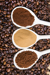 types of coffee: grounds, instant, powder, coffee beans