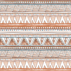 Geometric ethnic seamless pattern. Abstract aztec background. Digital or wrapping paper. vector Ethnic seamless brown