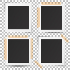 Set of realistic old photo frames.