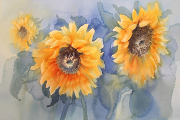 sunflowers on green background watercolor