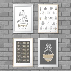 Art painting with Cactus in frame. Abstract pattern. Vector illustration concept