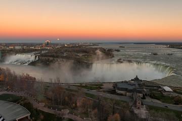 Aerial view of the Niagara Falls at sunset.