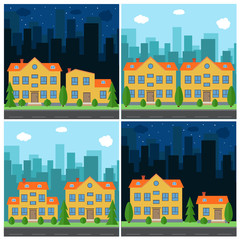 Set of vector day and night city with cartoon houses and buildings. City space with road on flat style background concept. Summer urban landscape. Street view with cityscape on a background
