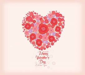 Valentines day card. Bright flowers in shape of heart background