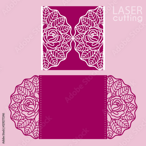 Laser Cut Wedding Invitation Card Template Vector Cut Paper Card