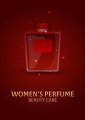 Poster Women's Perfume. Beauty care. Classic bottle of perfume. Liquid luxury fragrance aromatherapy. Vector illustration.