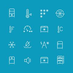 Refrigerator, home fridge, freezing vector icons set