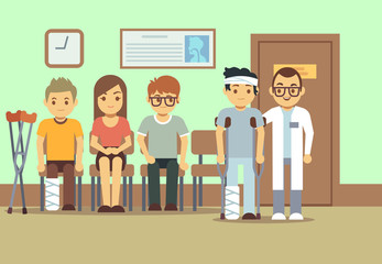 Patients in doctors waiting room at the hospital, medical clinic. health care vector concept