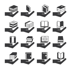 hand holding book icons